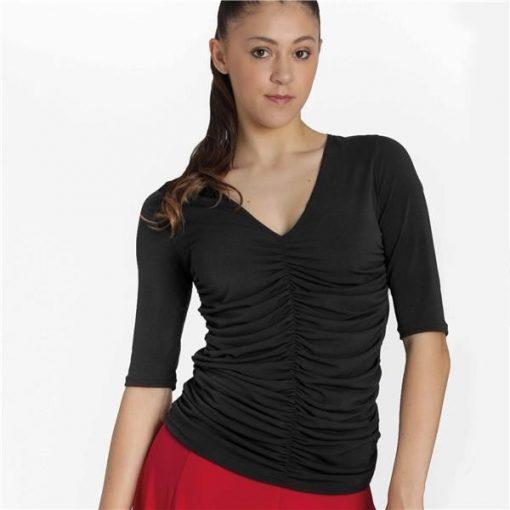 bluse til dans med flotte vertikale rynker og v-udskæring