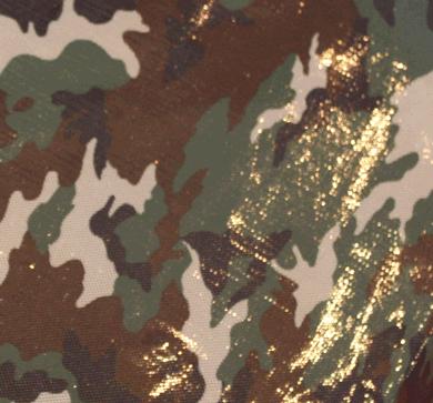 Discostof guld hologram på camouflage baggrund-0